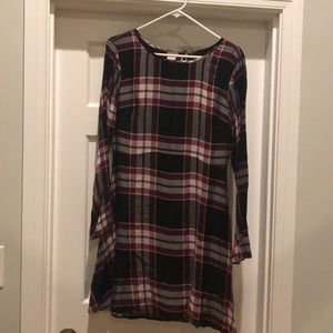 A-line plaid dress with bell sleeves